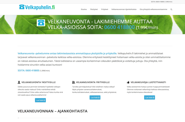 Velkapuhelin.fi sivusto